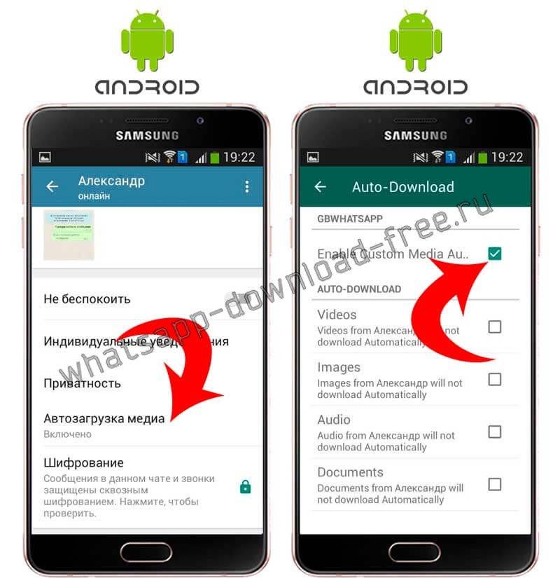 WhtasApp Plus настройки автозагрузки медиа Android
