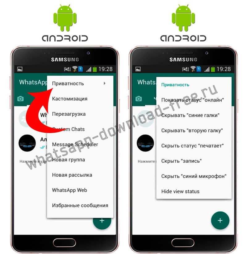 Скрыть галочки в WhatsApp Plus