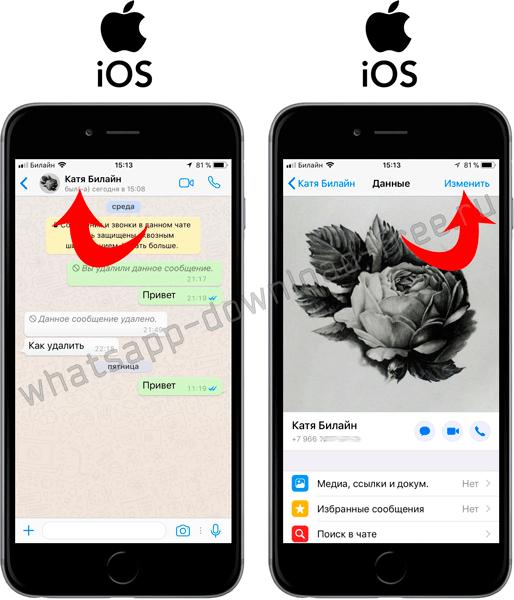 Изменить контакт в WhatsApp Iphone