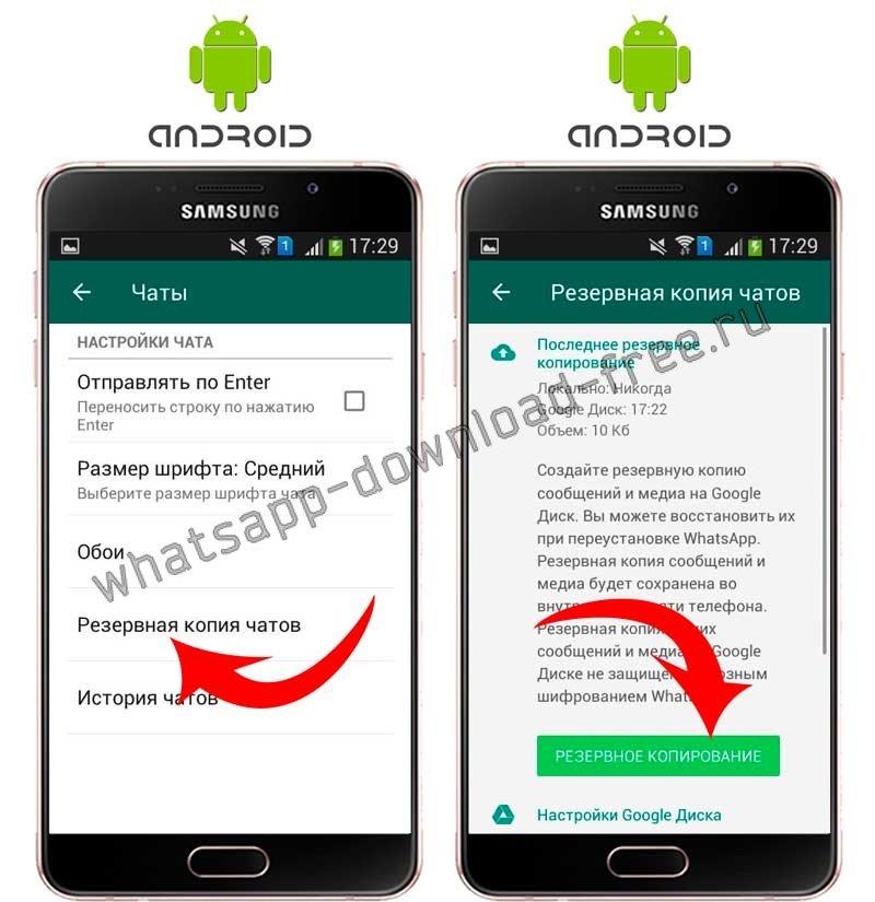 Резервное копирование данных в WhatsApp