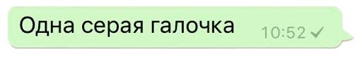Одна серая галочка WhatsApp