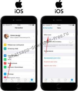 Настройки обоев в WhatsApp на Iphone