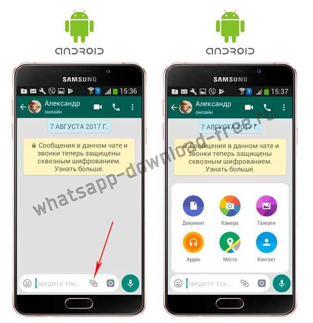 Отправить открытку в WhatsApp на Андроид