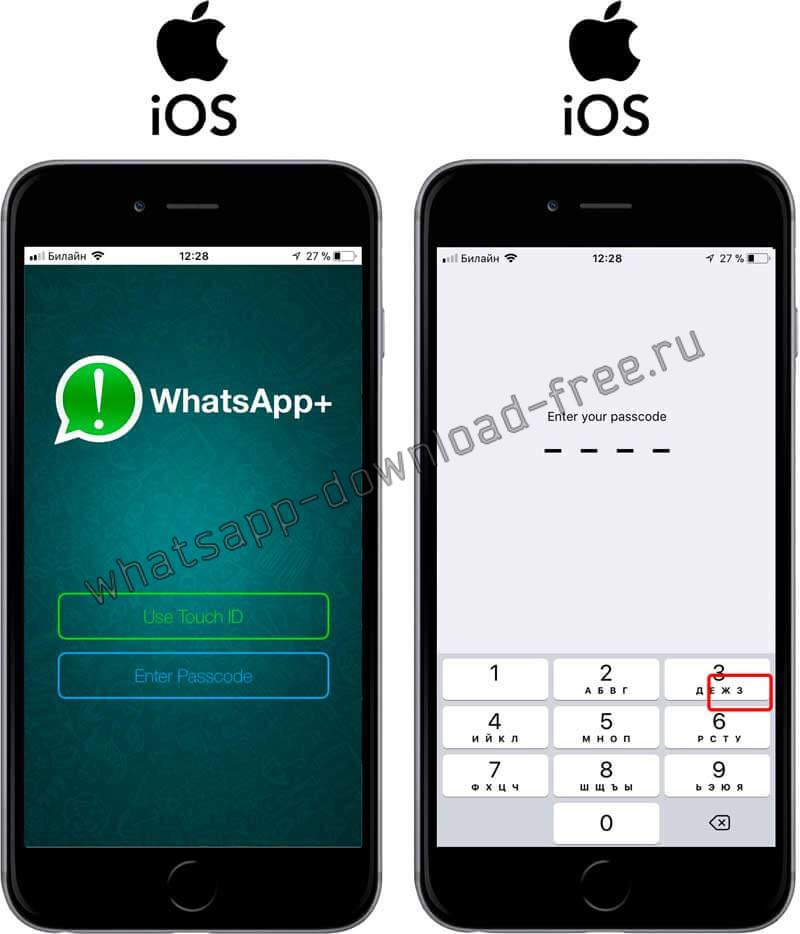 Вход по паролю или Touch ID в WhatsApp++
