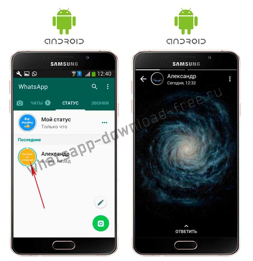Посмотреть статус другого контакта в WhatsApp на Android
