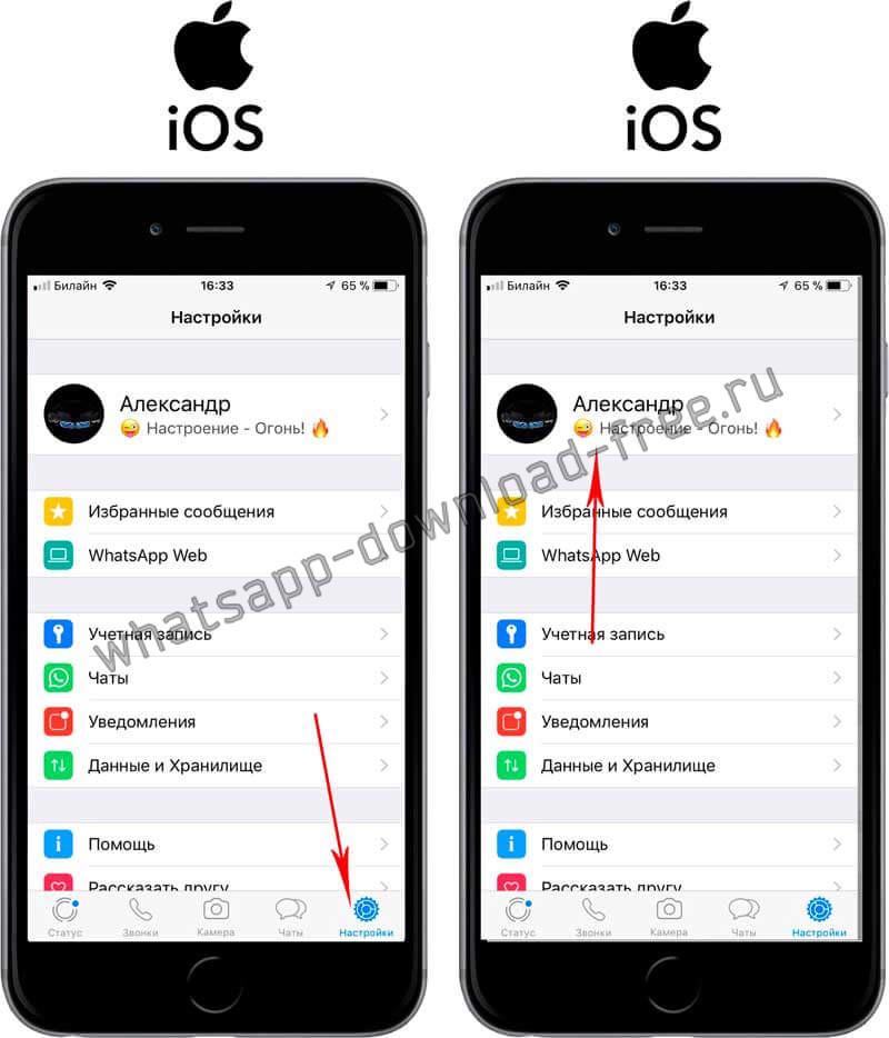 Изменить статус в WhatsApp на Iphone настройки