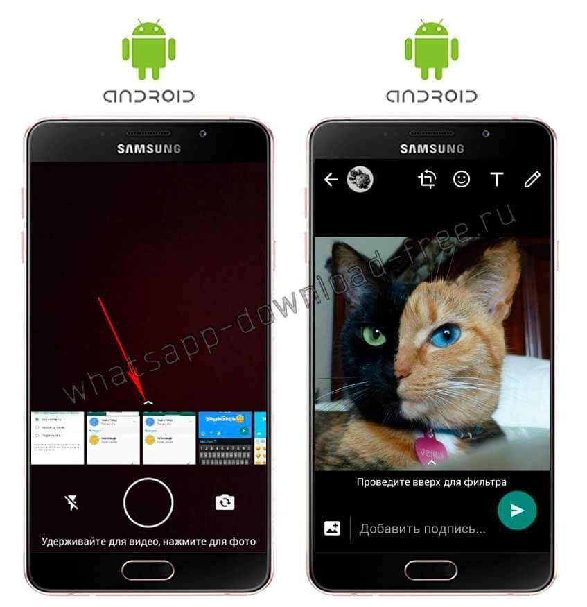 Фото из галереи на статус в WhatsApp на Android