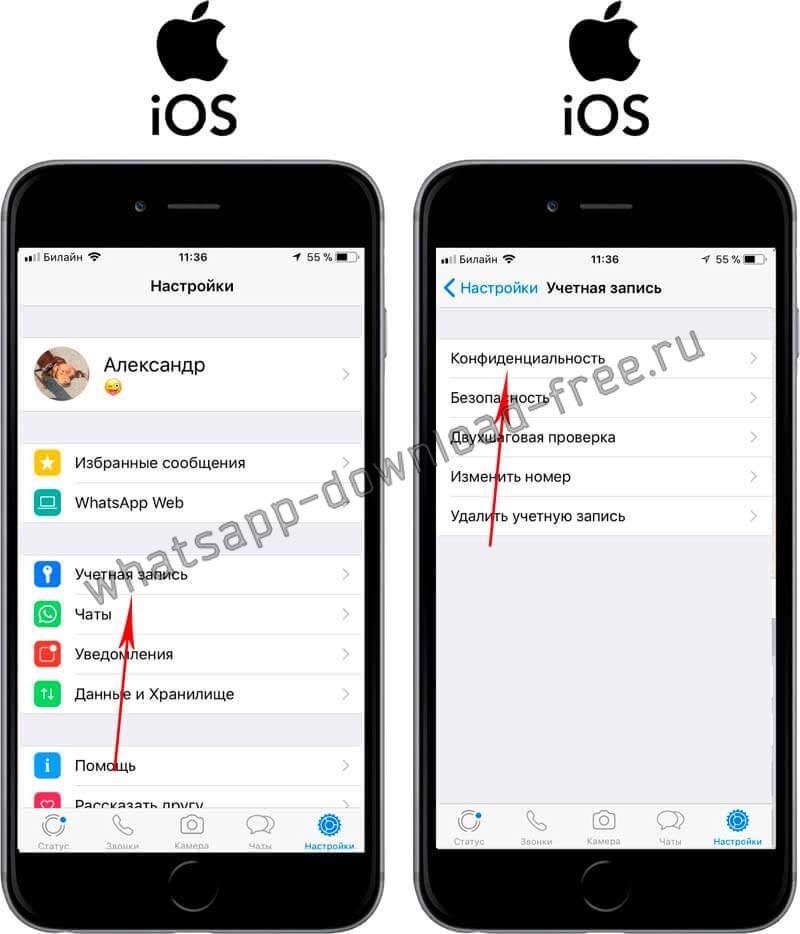Заблокировать контакт в WhatsApp на Iphone