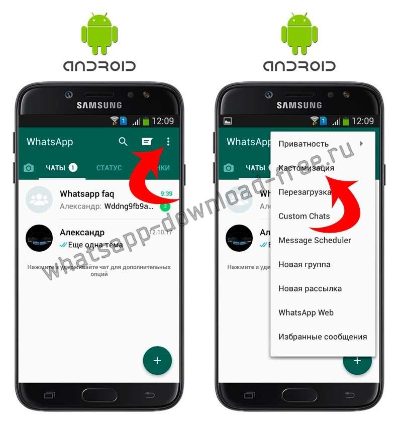 Кастомизация в WhatsApp Plus