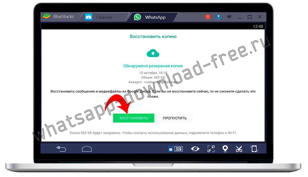 Восстановление резервной копии WhatsApp в Bluestacks