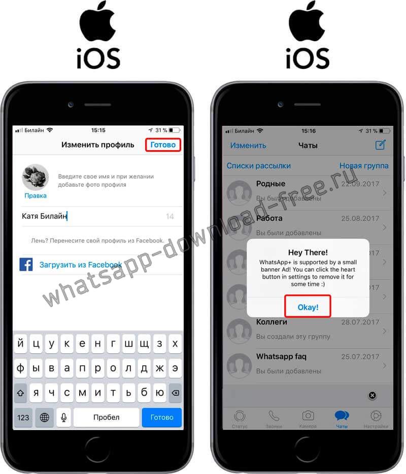 Ввод имени в WhatsApp++