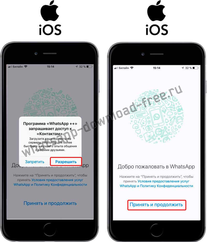 Запуск WhatsApp++ на Iphone доступ к контактам