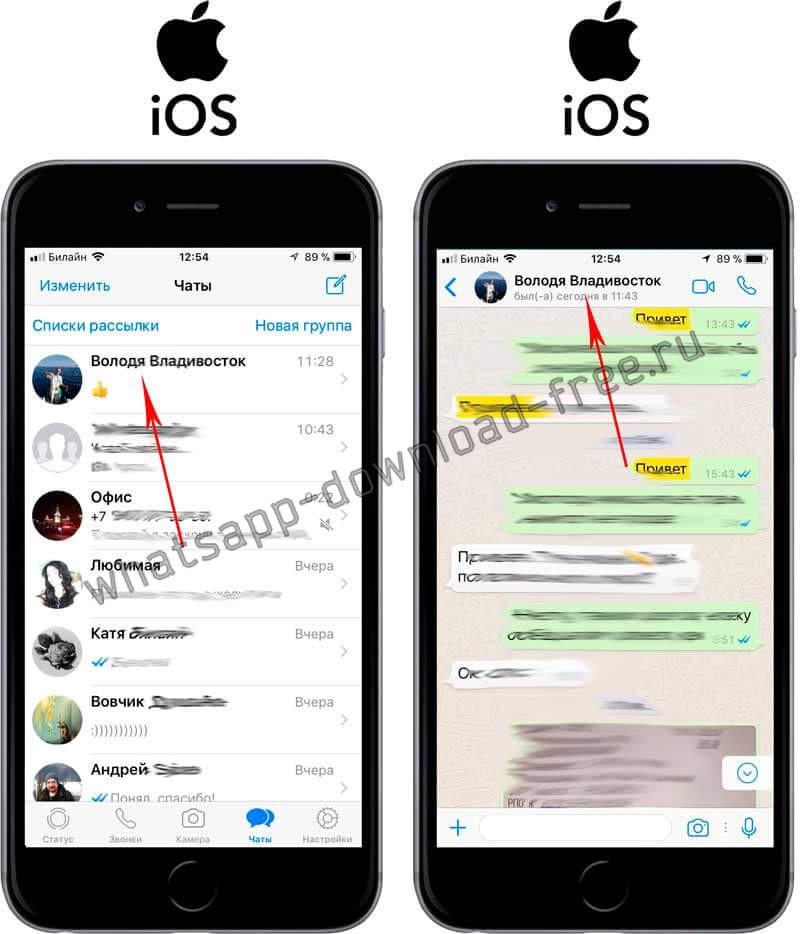 Найти сообщение в чате в WhatsApp