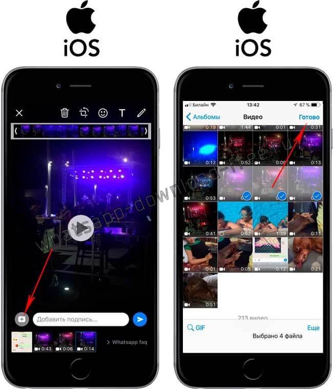 Как отправить несколько видео по WhatsApp на Iphone