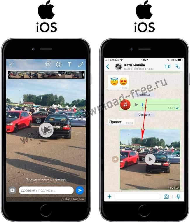 Отправить видео по WhatsApp на Iphone