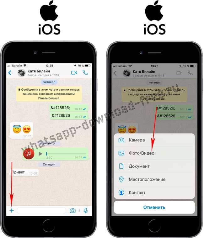 Как отправить видео по WhatsApp на Iphone