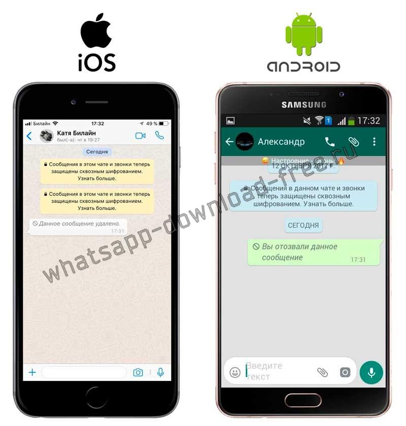 Готовый результат отозванного сообщения в WhatsApp Plus