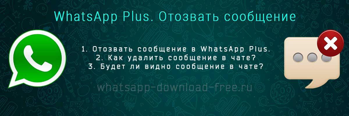 Как удалить, отозвать сообщение в WhatsApp Plus