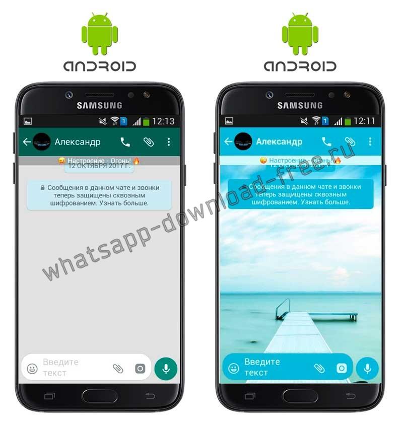 WhatsApp Plus Тема до и после