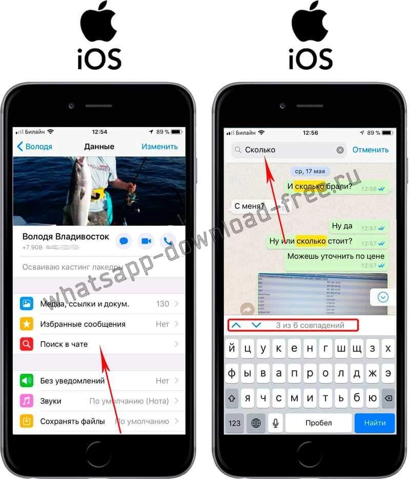 Поиск сообщения в чате WhatsApp на Iphone