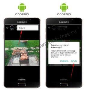Подтверждение скрытия статуса контакта в WhatsApp на Android