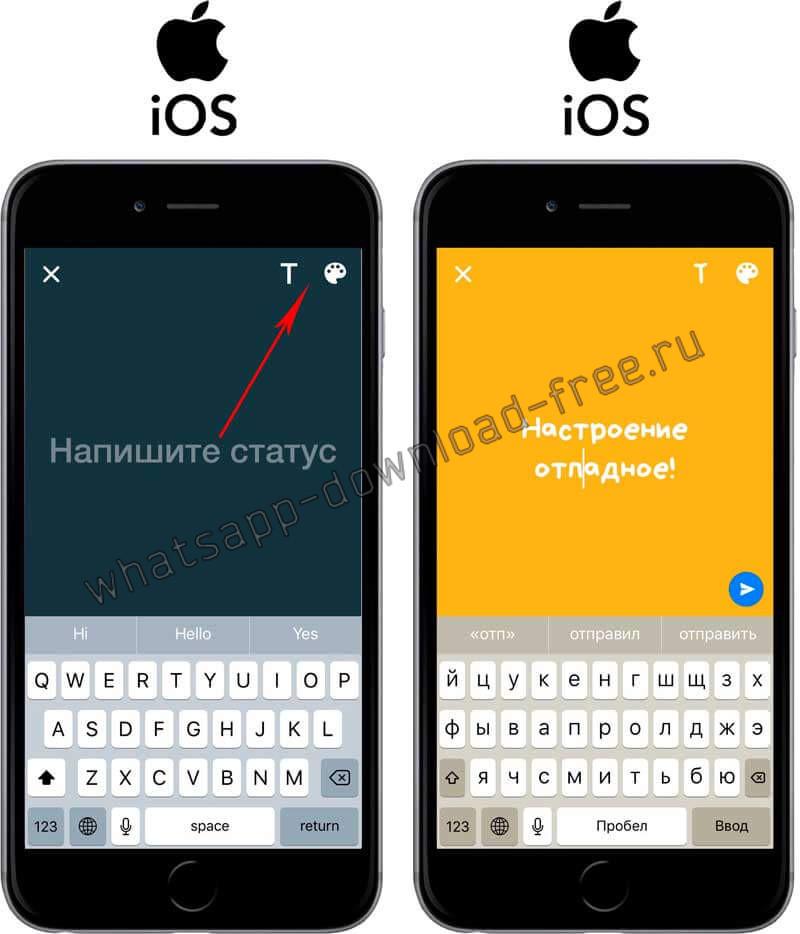 Установить фон или шрифт в статусе в WhatsApp на Iphone