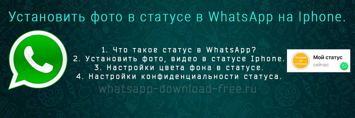 Установить фото в статусе WhatsApp на iphone