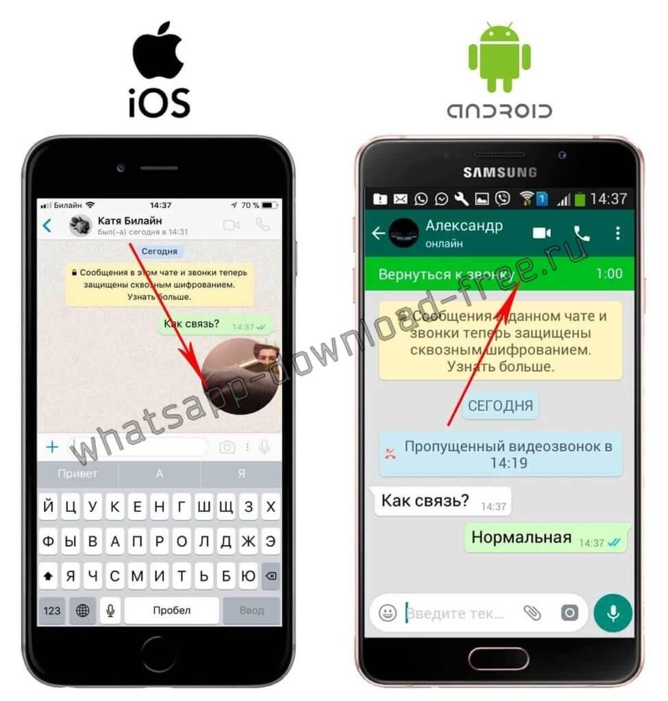 Возврат к вызову в WhatsApp