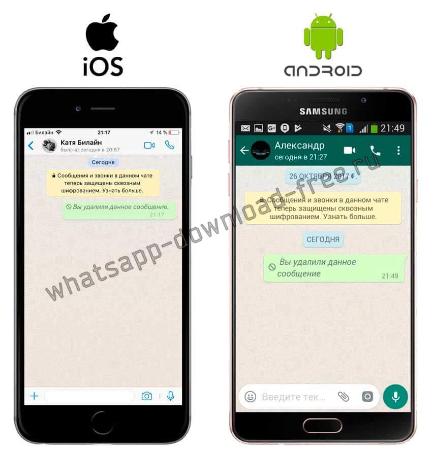 Результат удаления сообщения в WhatsApp