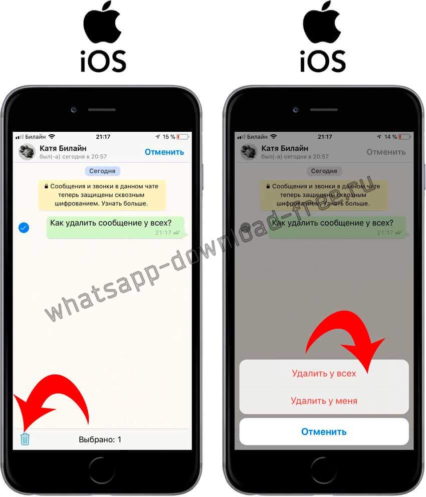 Выбор типа удаления сообщения в WhatsApp на Iphone