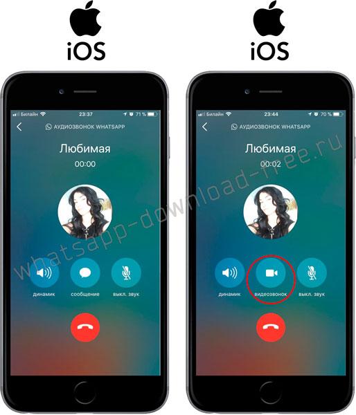Переключение между аудио и видеовызовами в WhatsApp