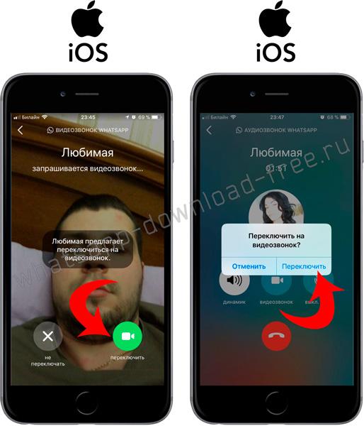 Переключение между вызовами в WhatsApp