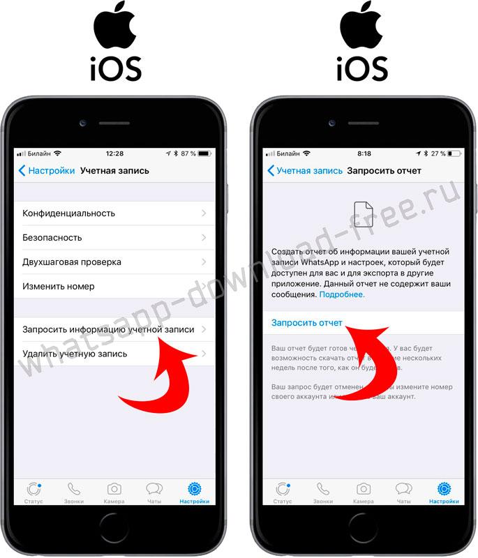 Запросить отчет об учетной записи WhatsApp